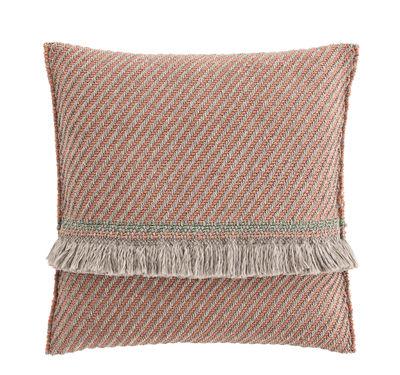 Coussin Garden Layers / Large - Tissé main - Gan pêche,amande en tissu