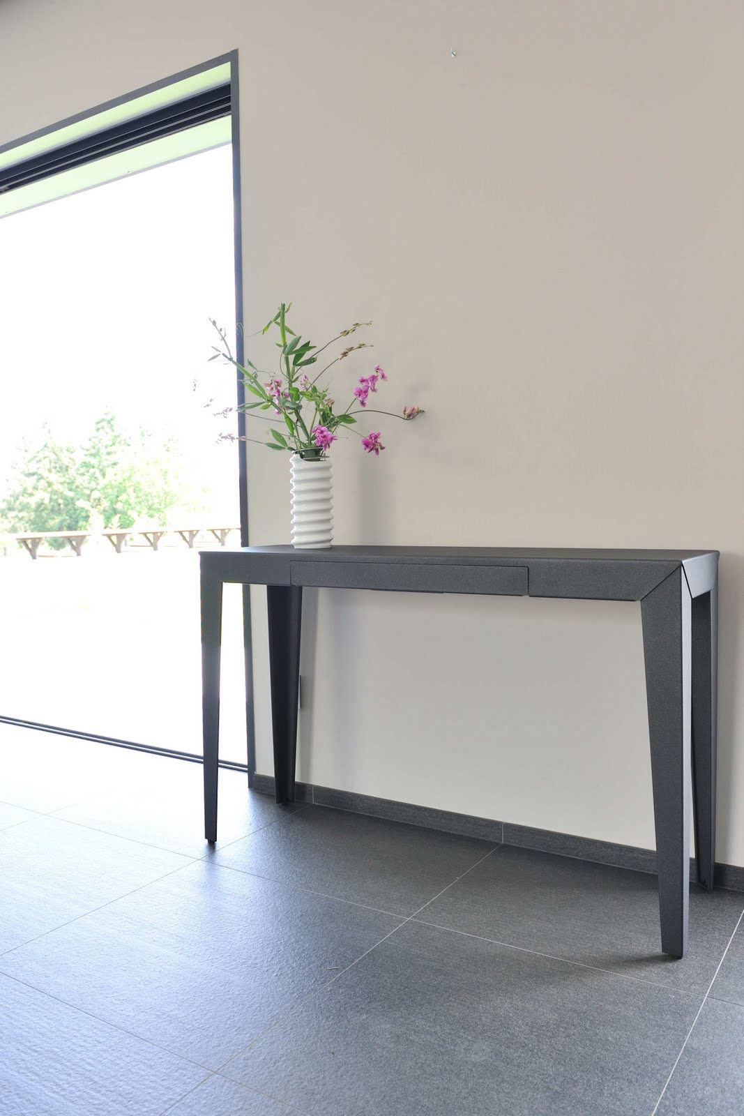 Console zef avec tiroir 120 x 35 cm azurite mati re - Console grise avec tiroir ...