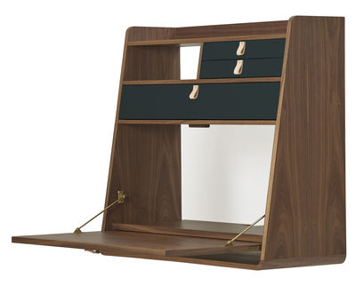 Möbel - Büromöbel - Gaston Wand-Schreibtisch / L 80 cm x H 72 cm - Hartô - Anthrazit / Nussbaum - MDF plaqué noyer