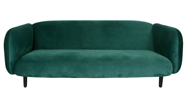 canap droit mo ra velours 3 places l 204 cm velours vert canard enostudio made in design. Black Bedroom Furniture Sets. Home Design Ideas