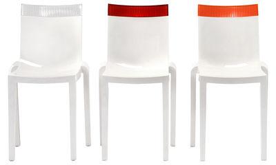 chaise empilable hi cut blanche polycarbonate blanc laqu rouge kartell. Black Bedroom Furniture Sets. Home Design Ideas