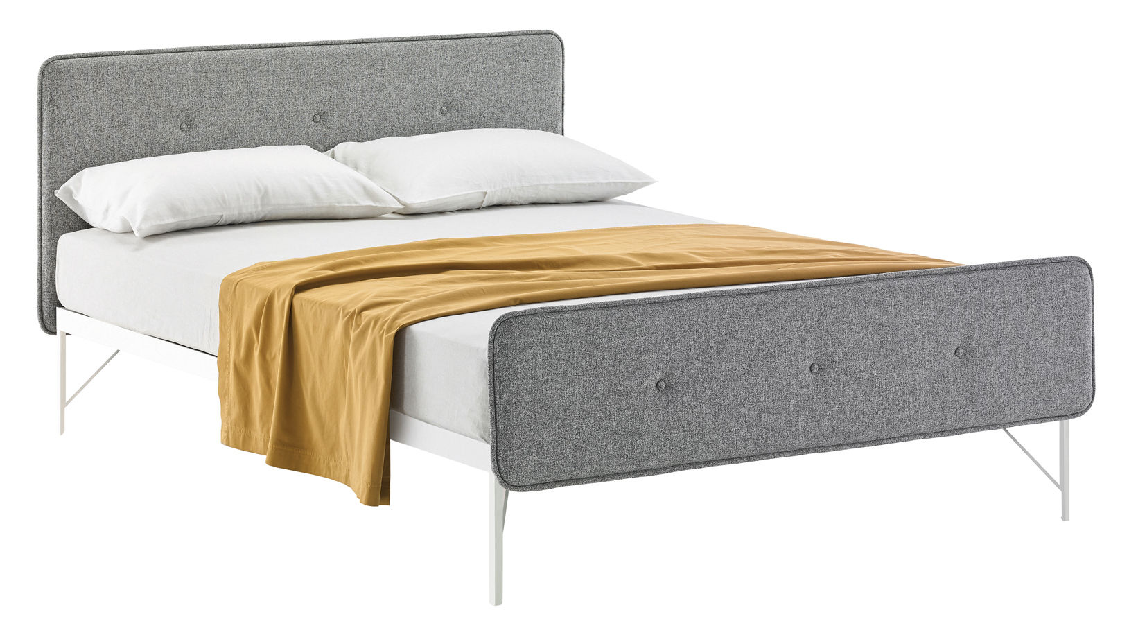 lit double hotel royal pour matelas 160 x 200 tissu gris clair zanotta. Black Bedroom Furniture Sets. Home Design Ideas