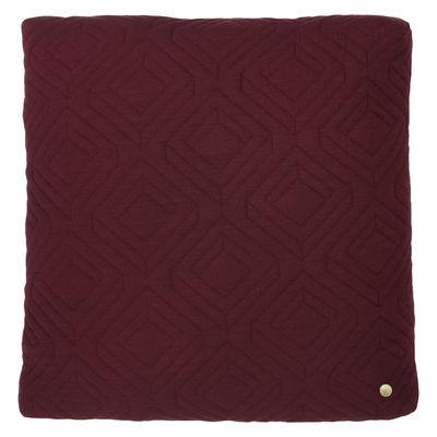 Déco - Coussins - Coussin Quilt / 45 x 45 cm - Ferm Living - Bordeaux - Laine, Plumes, Polyamide, Polyester