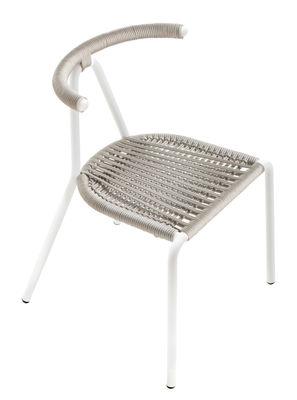 Mobilier - Chaises, fauteuils de salle à manger - Chaise empilable Toro Outdoor / Assise corde tressée - B-LINE - Gris clair / Structure blanche - Acier galvanisé peint, Corde plastique