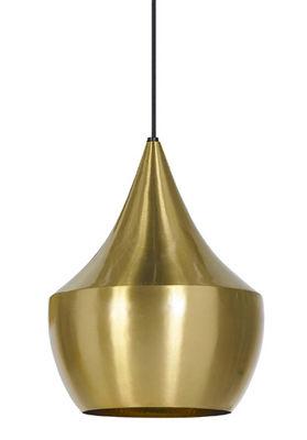 Luminaire - Suspensions - Suspension Beat Fat / Ø 24 cm x H 30 cm - Tom Dixon - Laiton brossé - Laiton