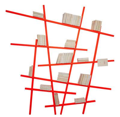 Libreria Mikado Large - / l 215 x H 220 cm - Colore esclusivo di Compagnie - Arancione fluorescente - Legno