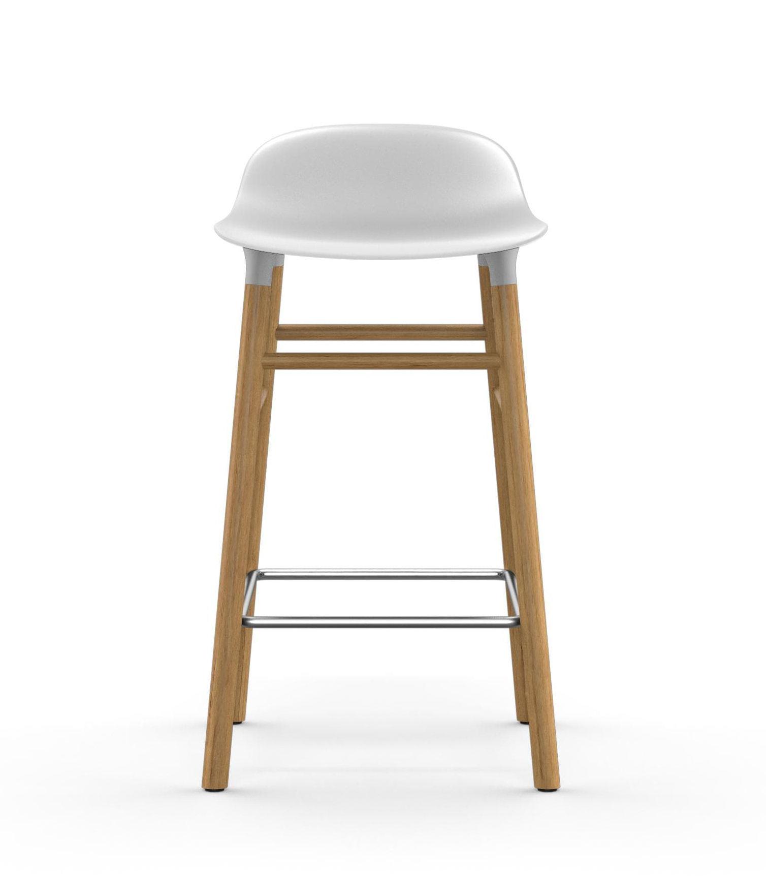 tabouret de bar form h 65 cm pied ch ne blanc ch ne normann copenhagen. Black Bedroom Furniture Sets. Home Design Ideas