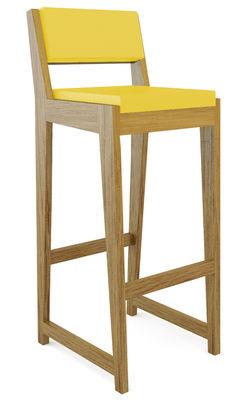 Foto Sedia da bar Room 26 - Con schienale di Quinze & Milan - Giallo,Rovere - Materiale plastico