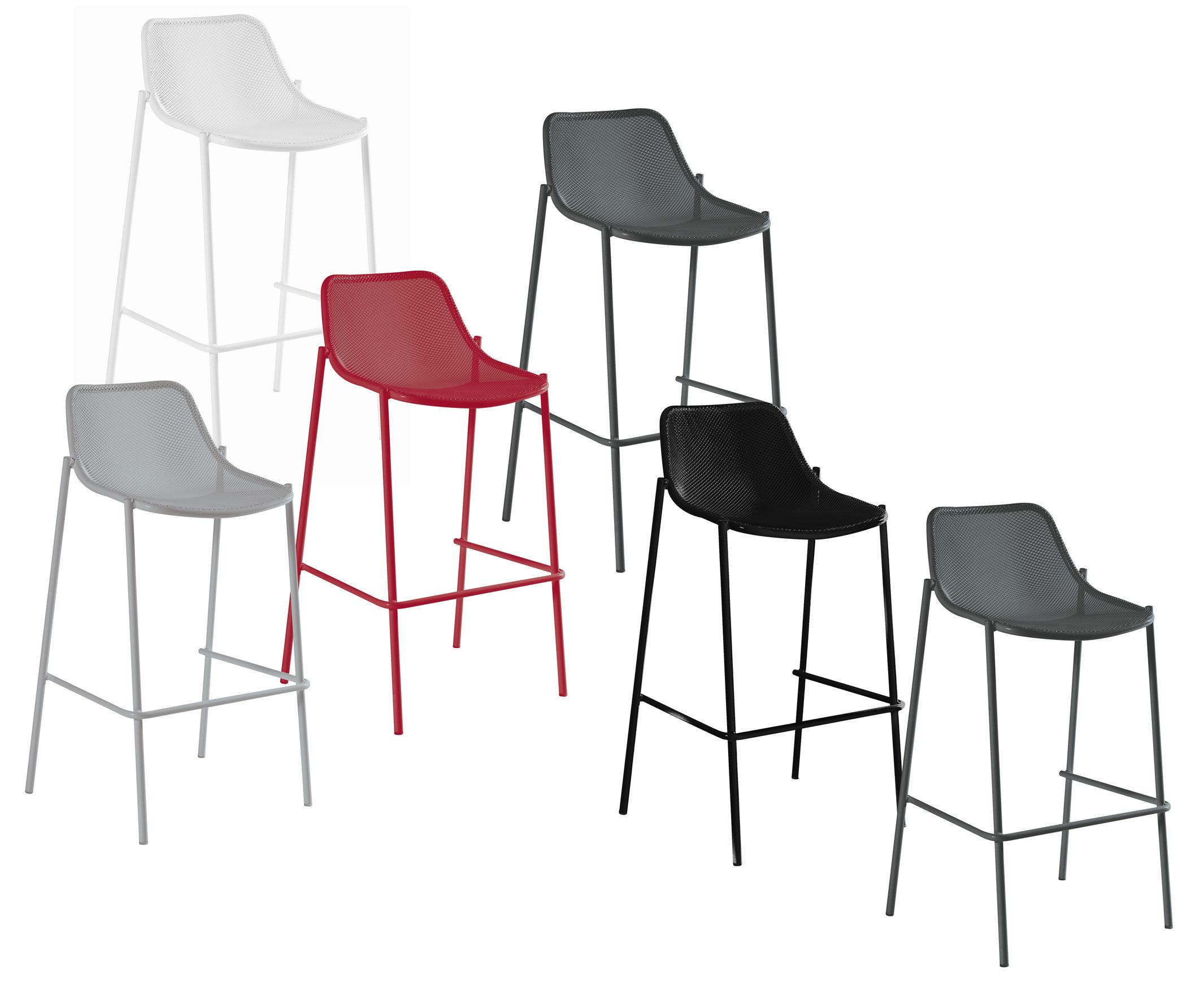 chaise de bar round m tal h 78 cm noir emu. Black Bedroom Furniture Sets. Home Design Ideas