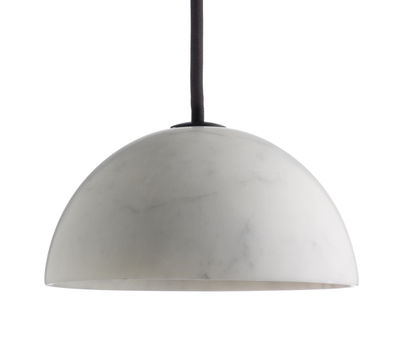 Luminaire - Suspensions - Suspension Marbre / Ø 13,5 x H 6,5 cm - wrong.london - Marbre blanc - ABS, Marbre