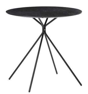Mobilier - Tables - Table Herman / Ø 57 x H 72 cm - Ferm Living - Noir - Laiton, Métal, Plaqué frêne