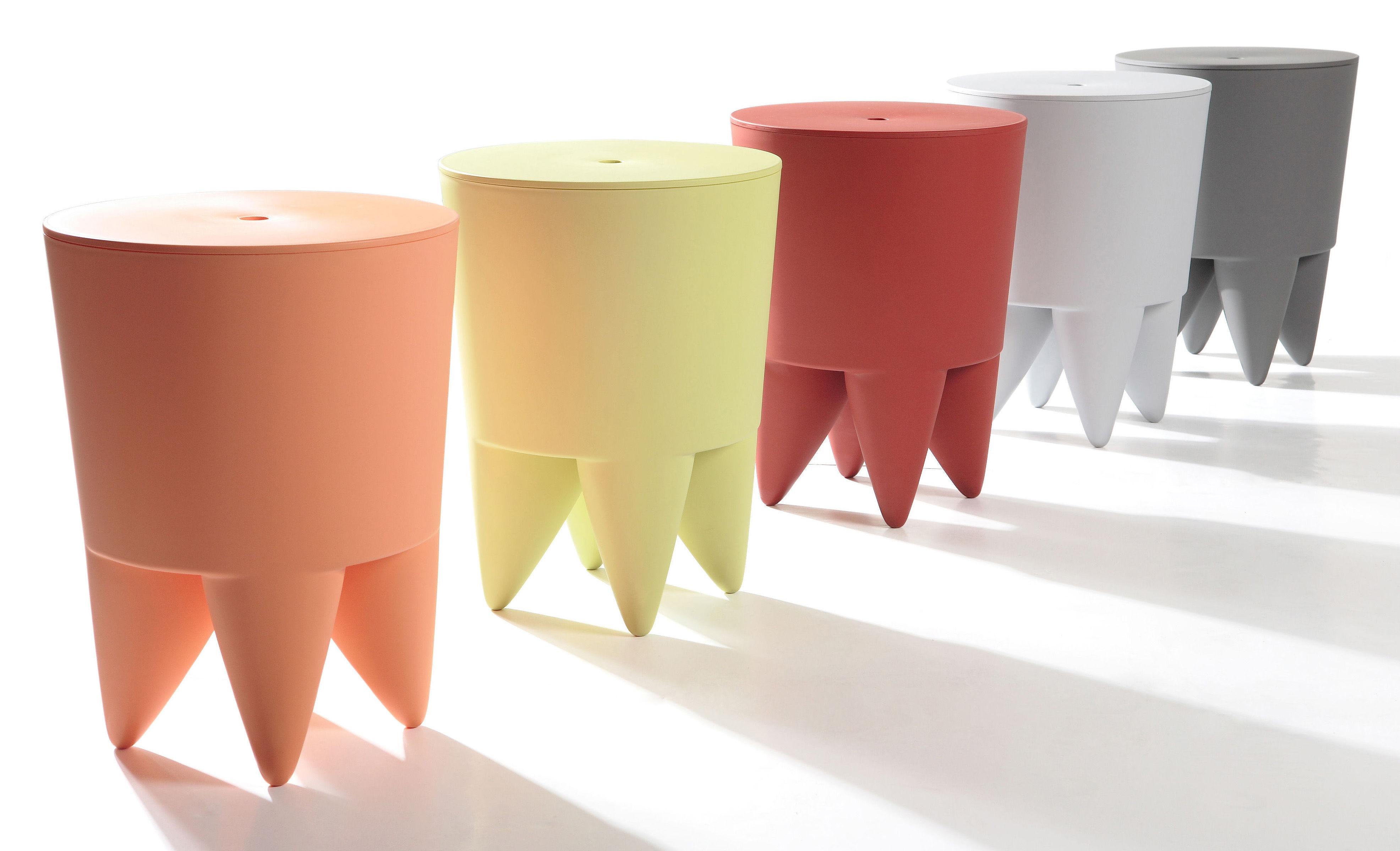 Tabouret new bubu 1er coffre plastique craie xo for Coffre tabouret salle de bain