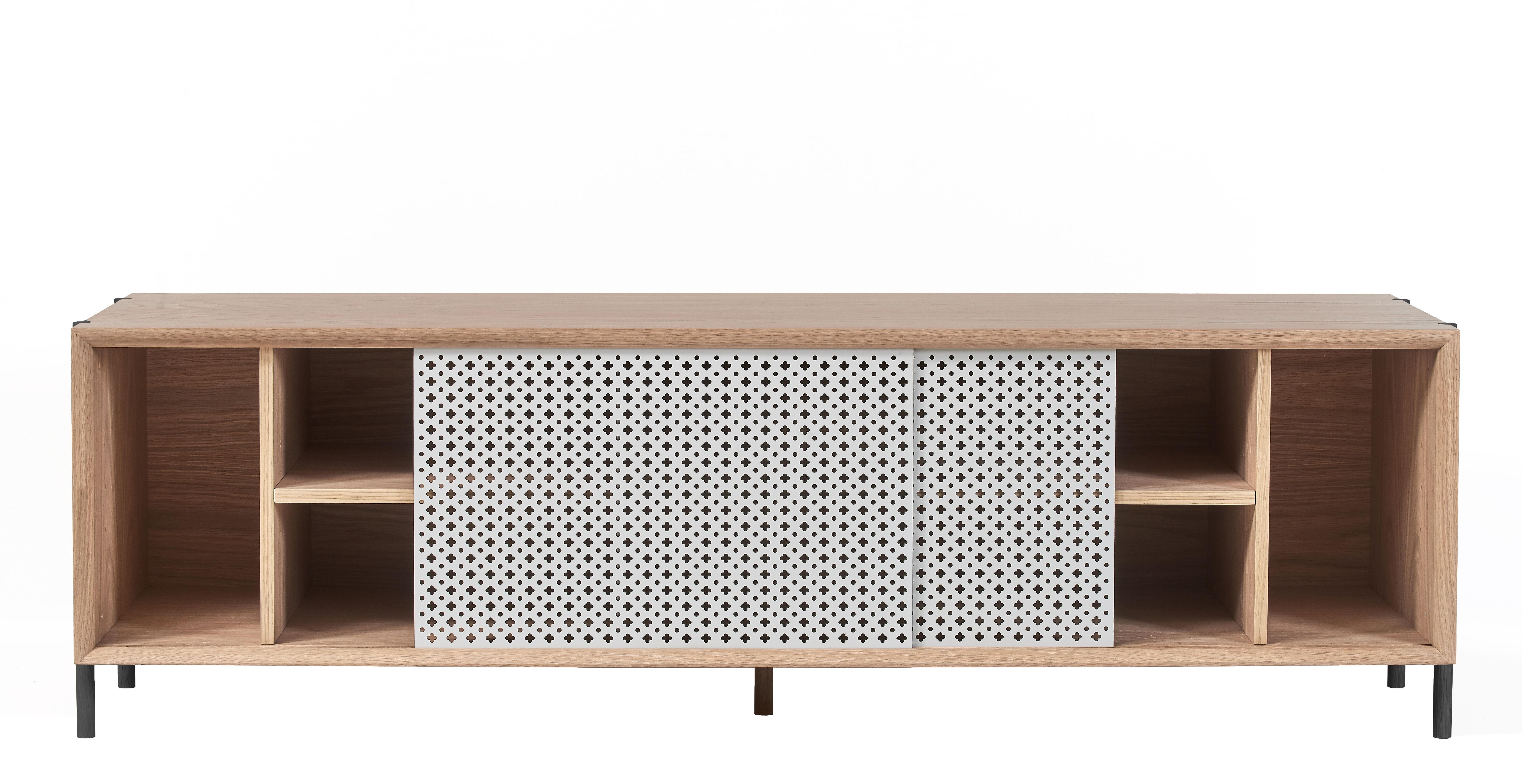 buffet gabin meuble tv l 162 ch ne m tal gris clair ch ne hart made in design. Black Bedroom Furniture Sets. Home Design Ideas