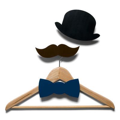 Furniture - Coat Racks & Pegs - Monsieur Hook - 3 coat-pegs by Domestic - Black, brown & dark blue - Lacquered aluminium