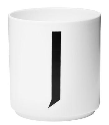 Mug Arne Jacobsen / Porcelaine - Lettre J - Design Letters blanc en céramique