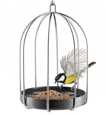 Jardin - Déco et accessoires - Mangeoire à oiseaux / Ø 22 x H 31 cm - Eva Solo - Gris anthracite / Métal - Acier inoxydable, Céramique