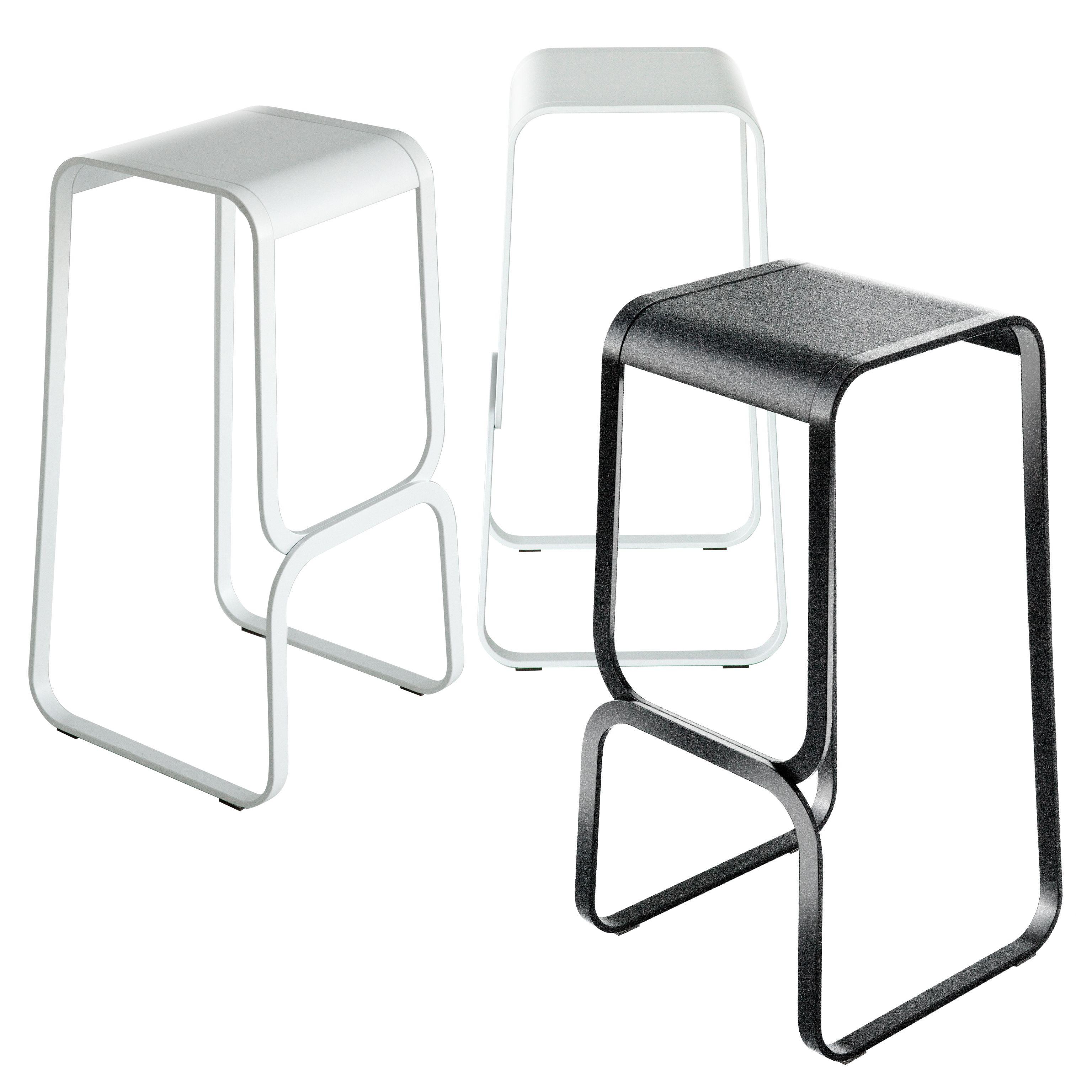 tabouret de bar continuum bois m tal h 80 cm assise noire structure noire lapalma. Black Bedroom Furniture Sets. Home Design Ideas