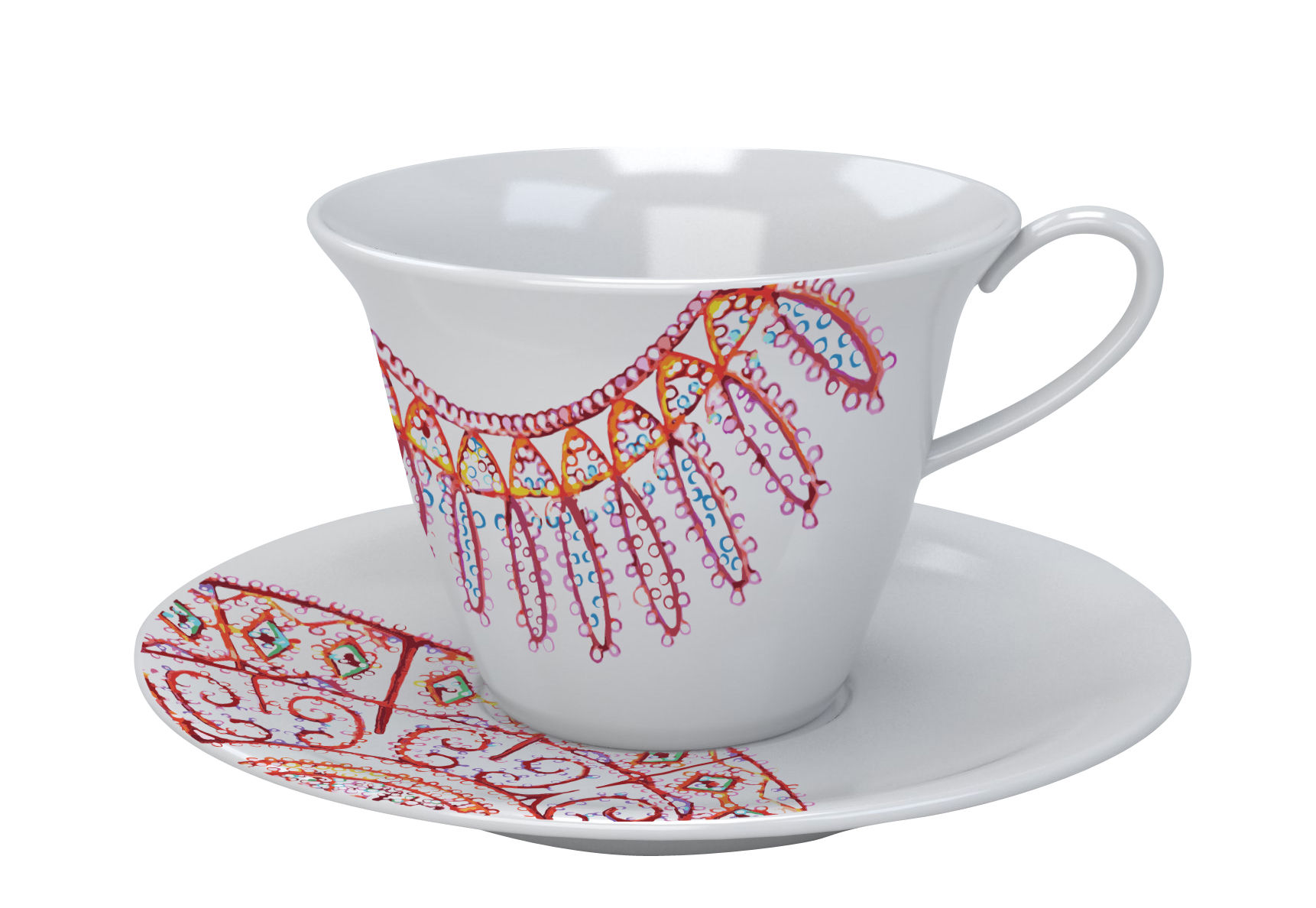 tasse caf the white snow luminarie porcelaine tasse tons rouges driade. Black Bedroom Furniture Sets. Home Design Ideas