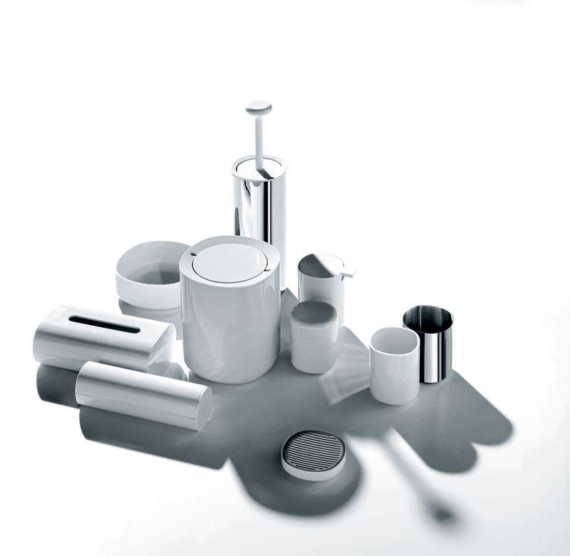 Distributeur de disques coton birillo blanc alessi for Distributeur salle de bain