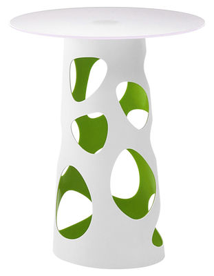 Jardin - Mange-debout et bars - Pied de table Liberty H 105 cm - MyYour - Extérieur blanc / Interieur vert - Poleasy