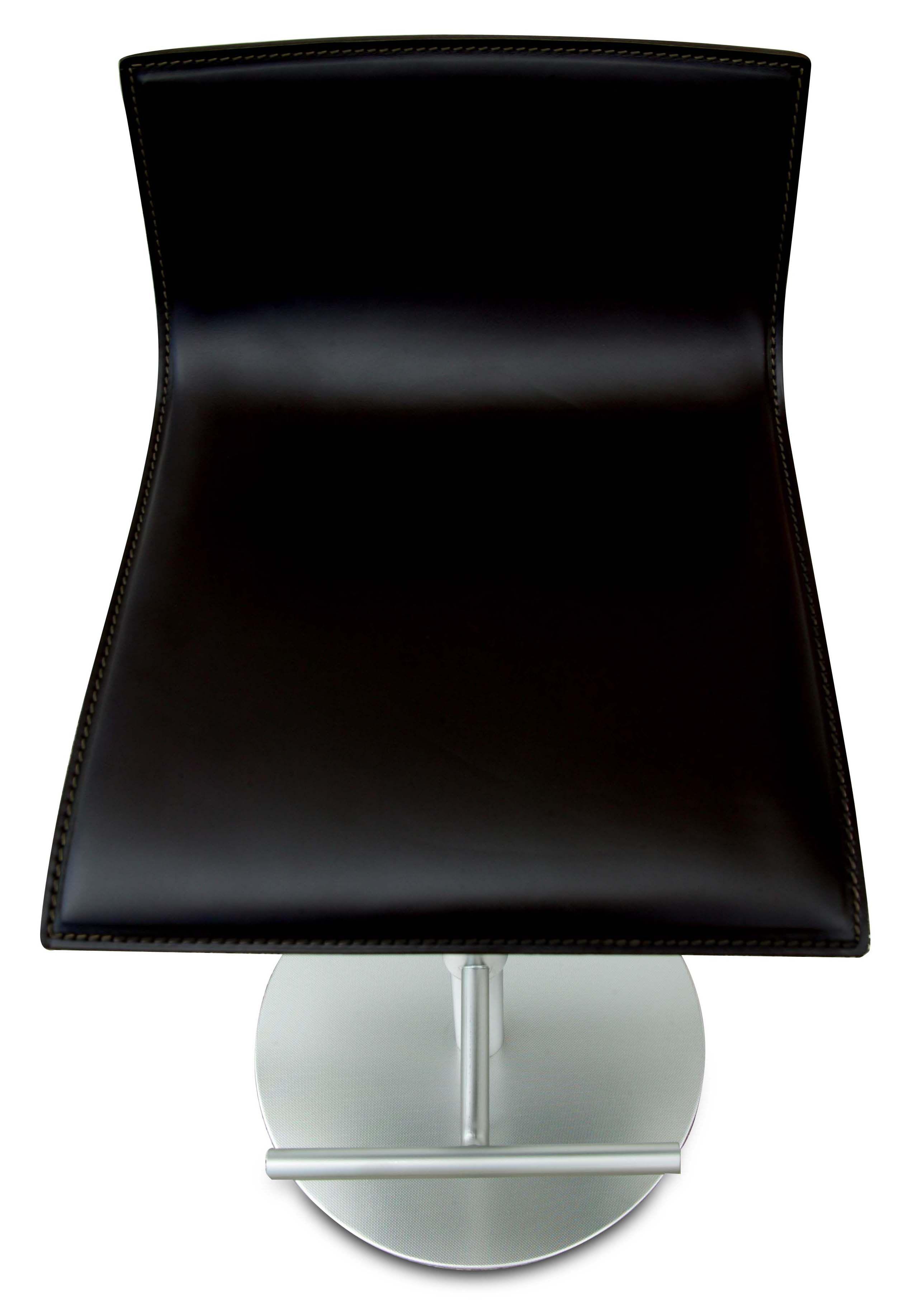 Thin Adjustable Bar Stool Pivoting Wood Seat Black Oak