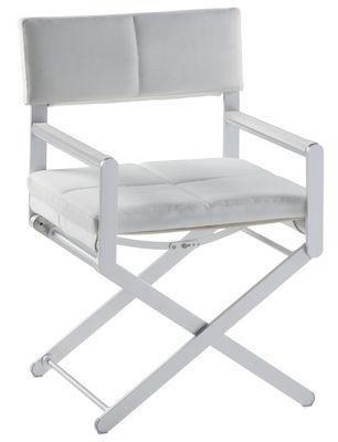Möbel - Stühle  - Oskar Klappsessel Lederkissen - Sifas - Kissen aus weißem Leder / Armlehnenpolsterung aus weißem Leder - Cuir synthétique, eloxiertes Aluminium