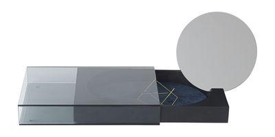Déco - Boîtes déco - Boîte à bijoux Matchbox L / Miroir - 20 x 32 cm - Bois & verre - Nomess - Noir / Gris transparent / Miroir - Cuir suède, Frêne teinté, Miroir, Verre fumé