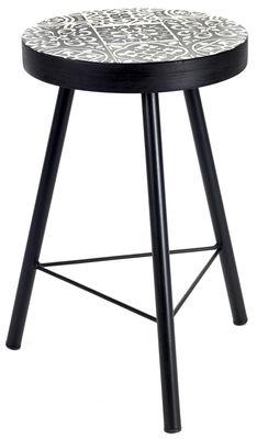 Mobilier - Tabourets bas - Tabouret Feeling / Béton motifs carreaux de ciment - H 46 cm - Serax - Noir & blanc / Pied noir - Béton, Métal