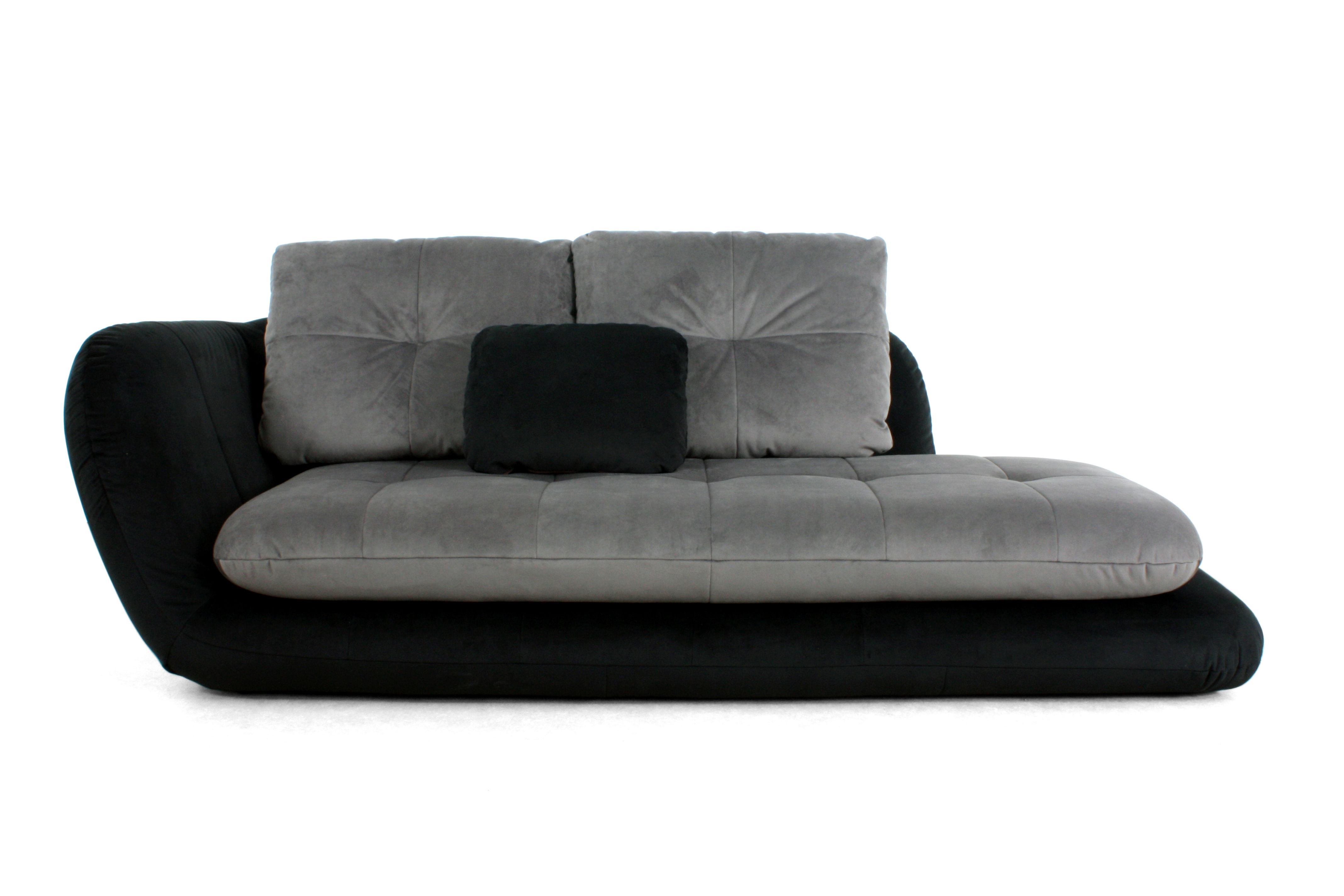 m ridienne double je convertible accoudoir droit l 230 cm noir gris fonc dunlopillo. Black Bedroom Furniture Sets. Home Design Ideas