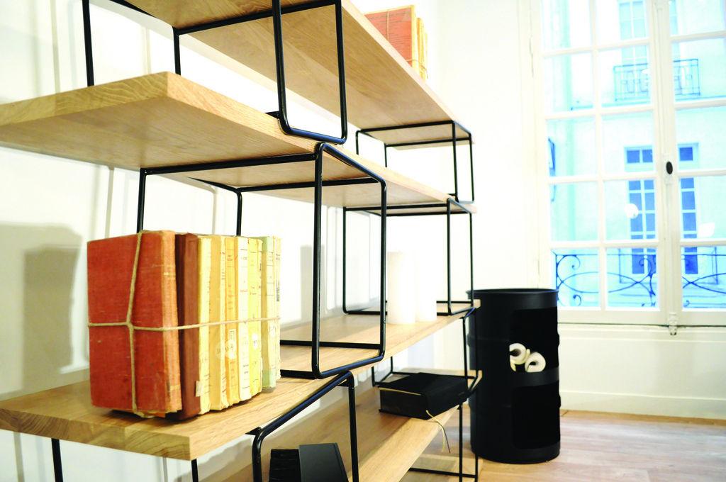 biblioth que quake modulable l 166 x h 130 cm modules noirs etag res h tre enostudio. Black Bedroom Furniture Sets. Home Design Ideas