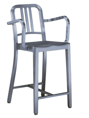 Furniture - Bar Stools - Navy Outdoor Bar chair - Armrests - H 76 cm by Emeco - Brushed aluminium - Brushed aluminium