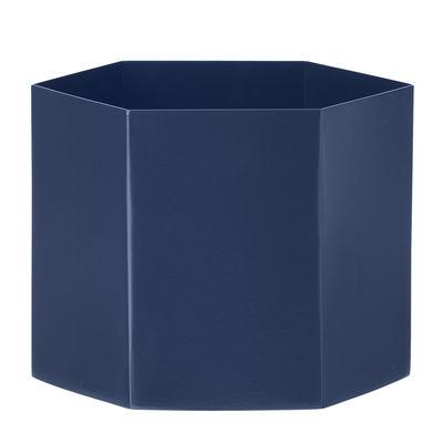 Déco - Vases - Pot de fleurs Hexagon XL / Ø 18 x H 16 cm - Ferm Living - Bleu - Métal laqué