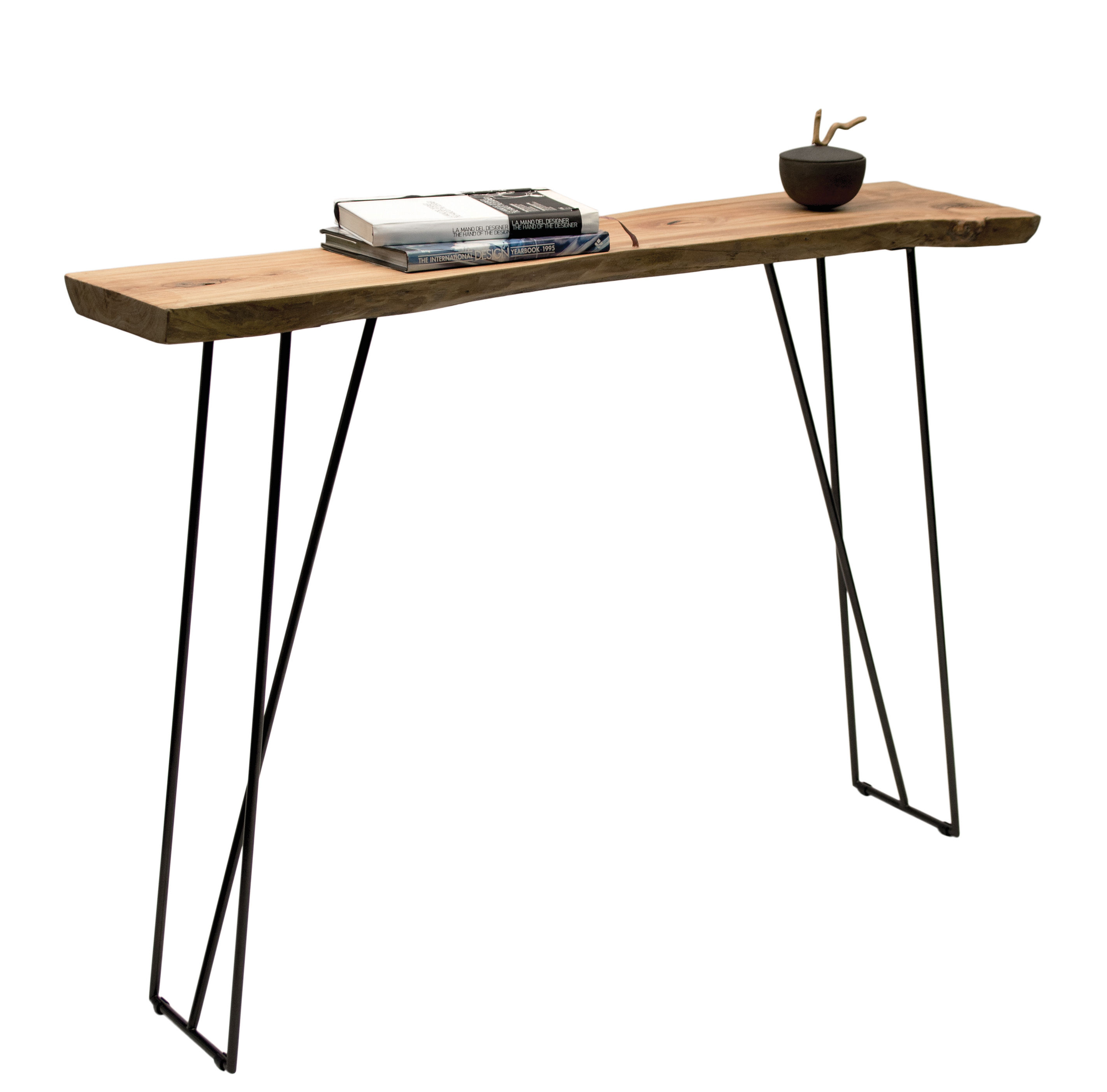Old times console natural wood black leg by zeus for Table exterieur largeur 60 cm