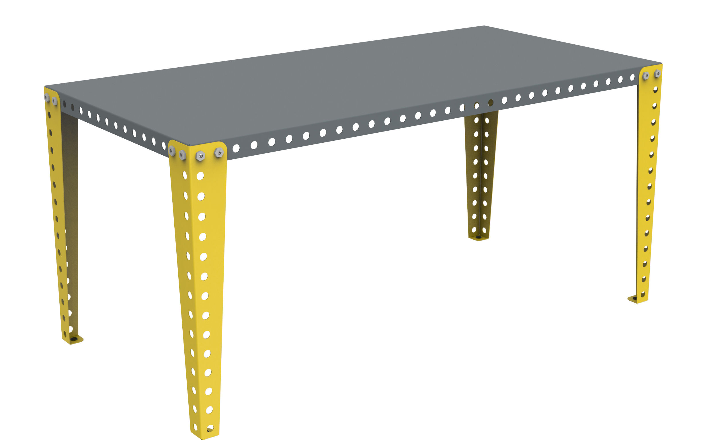 table bureau 160 x 80 cm gris pieds jaunes meccano. Black Bedroom Furniture Sets. Home Design Ideas