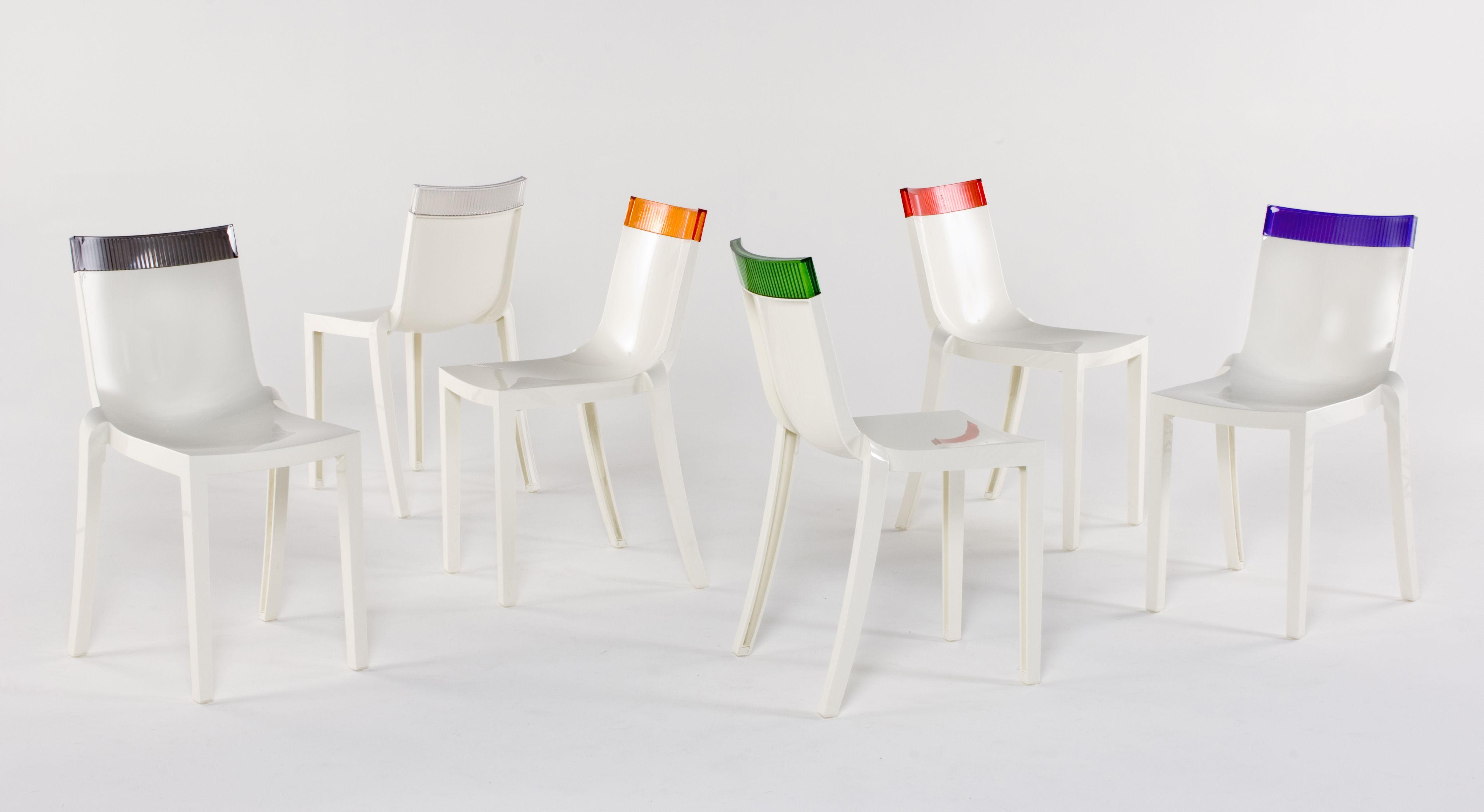 chaise empilable hi cut blanche polycarbonate blanc laqu gris kartell. Black Bedroom Furniture Sets. Home Design Ideas