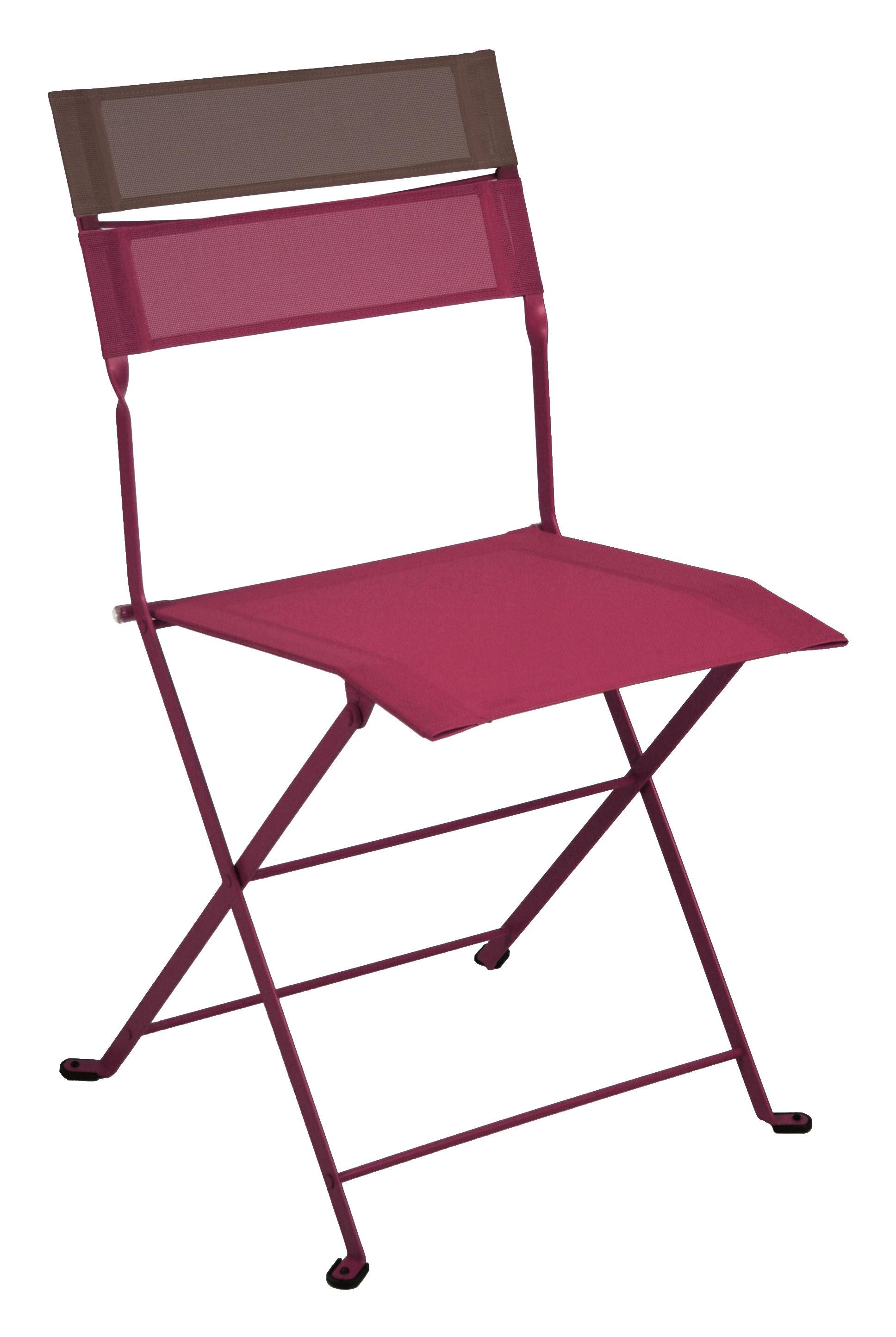 Chaise pliante latitude toile grenat bandeau rouille fermob - Chaise pliante en toile ...