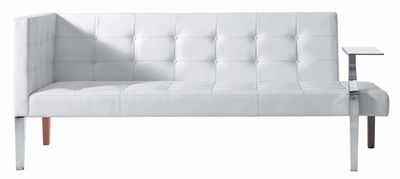 Furniture - Sofas - Monseigneur Straight sofa by Driade - White leather - Chromed steel, Leather, Wood