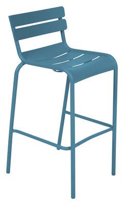 Foto Sedia da bar Luxembourg - / seduta A 80 cm di Fermob - Turchese - Metallo