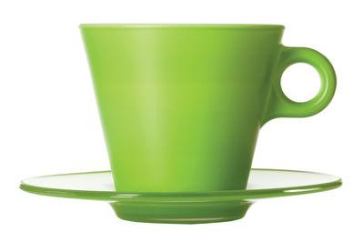 Arts de la table - Tasses et mugs - Tasse à cappuccino Ooh ! Magico et sa soucoupe - Leonardo - Vert pomme - Verre