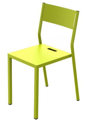 Mobilier - Chaises, fauteuils de salle à manger - Chaise empilable Take / Métal - Matière Grise - Vert anis - Acier peint époxy