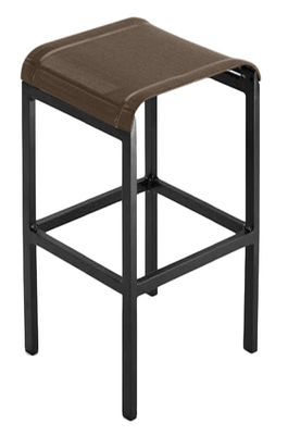 Furniture - Bar Stools - Tandem Bar stool - H 80 cm - Fabric by Ego - Brown fabric / black structure - Batyline cloth, Lacquered aluminium