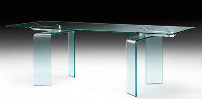 Mobilier - Tables - Table à rallonge Ray Plus / L 200 à 304 cm - FIAM - Transparent / Bras acier - Aluminium, Verre