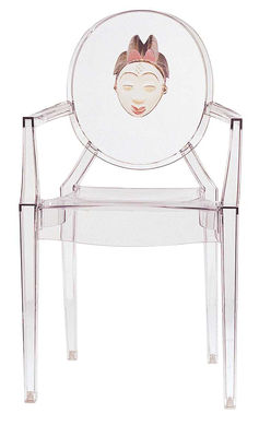 Furniture - Chairs - Louis Ghost Stackable armchair - personnalised / Polycarbonate by Kartell - African mask - Polycarbonate