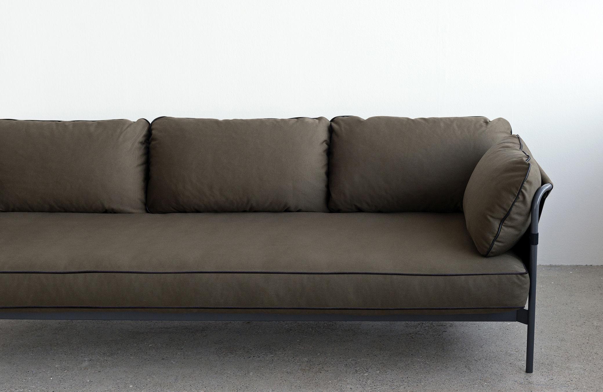canap droit can 3 places structure grise kaki c t s kaki hay. Black Bedroom Furniture Sets. Home Design Ideas