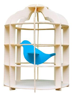 Image of Mobile Paper Cage / Cartone - Pa Design - Legno naturale,Turchese - Carta