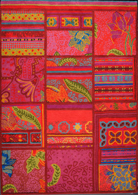 Foto Tappeto Raja by Florence Bourel / 170 x 240 cm - Lavorato a mano - Toulemonde Bochart - Multicolore - Tessuto