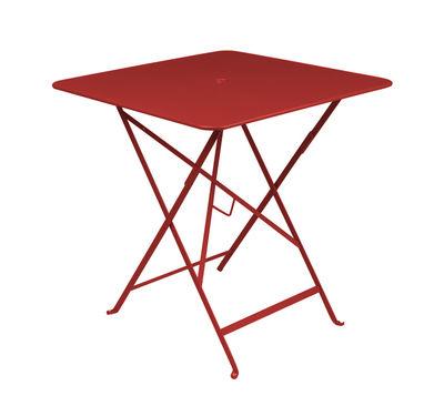 Table pliante Bistro 71 x 71 cm Trou pour parasol Fermob piment en métal