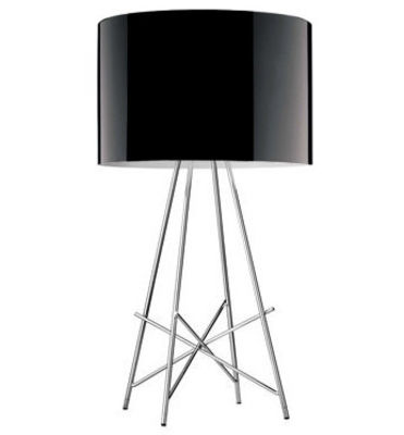 Lighting - Table Lamps - Ray T Table lamp by Flos - Glossy black metal - Acier chromé, Aluminium laqué