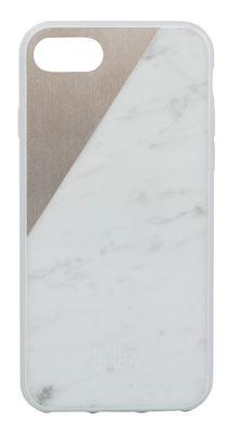Accessoires - Objets connectés, accessoires high tech - Coque iPhone 7 Clic Marble / Marbre véritable - Native Union - Marbre blanc / Rose doré - Marbre, Métal, Plastique