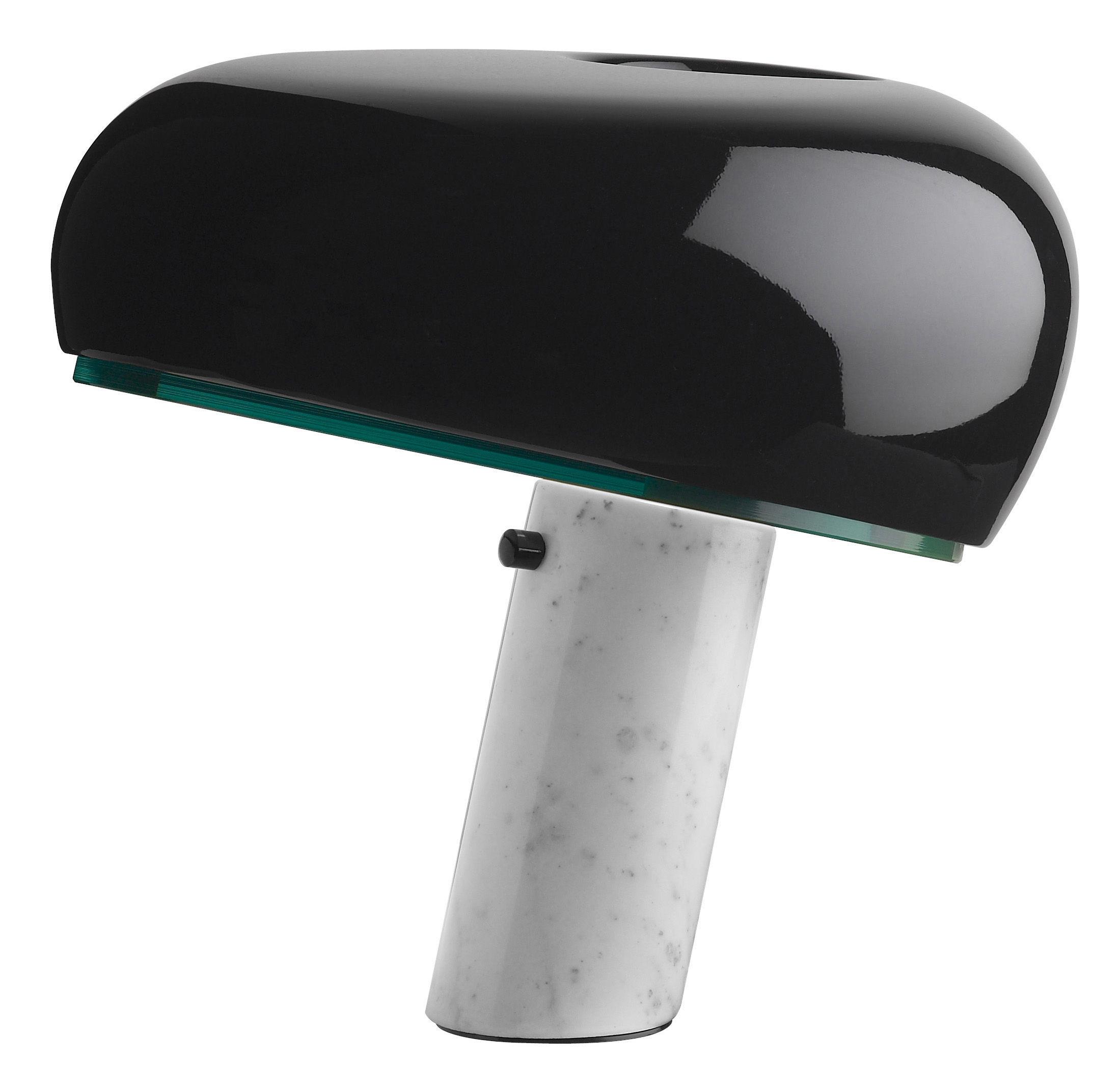 lampe de table snoopy m tal base marbre noir brillant base blanche flos. Black Bedroom Furniture Sets. Home Design Ideas